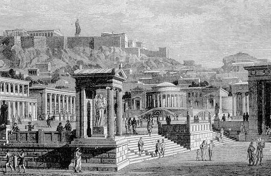 ''The ancient Agora (looking southwest). Stoicism was first expounded by Zeno of Citium around 300 BCE in the stoa poikile (painted porch) on the north side of the Agora.''